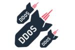 """Logo de bombes étiquetées """"DDoS"""" en train de tomber"""